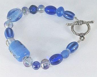 Blue Royal Blue Light Blue Iridescent Purple Faceted Glass Handmade One-of-a-Kind Beaded Bracelet