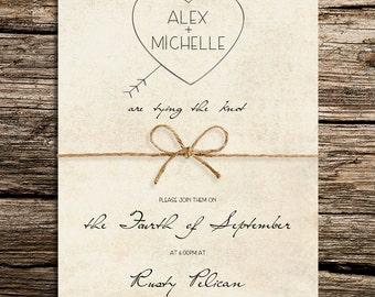Arrowed Heart Wedding Invitation Template