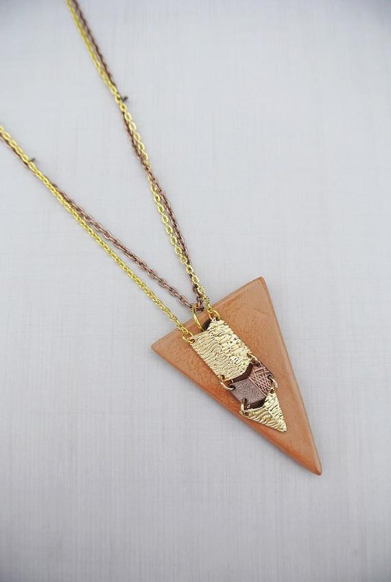 Terracotta Neck Pendant Diffuser ~ Arrow head terracotta clay diffuser necklace by staggsquare