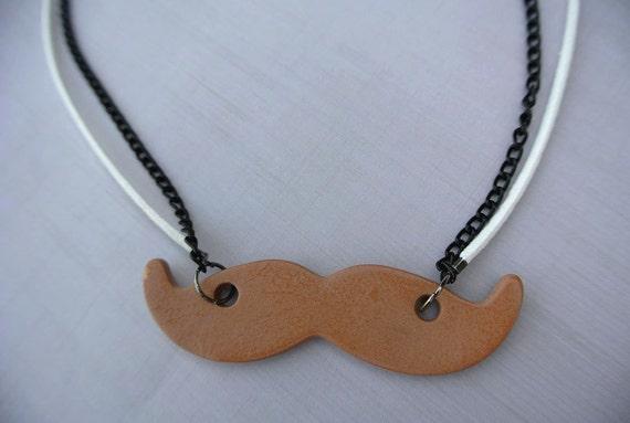 Terracotta Neck Pendant Diffuser ~ Mustache terracotta diffuser necklace essential oils