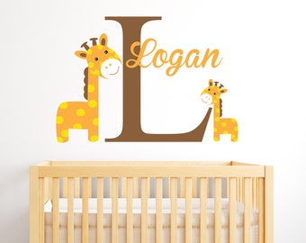 Giraffes Name Wall Decal - Boy Custom Name Decal - Baby Room Decor - Nursery Wall Decals Vinyl
