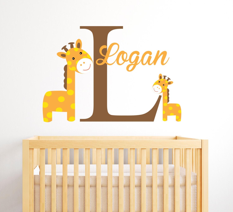 Giraffes Name Wall Decal - Boy Custom Name Decal - Baby Room Decor ...