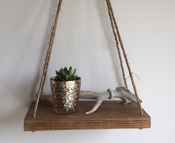 Reclaimed Wood Hanging Shelf Reclaimed Wood Suspended Shelf