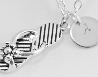 Sandal Necklace, Antique Silver Sandal Charms, Personalized Stamped, Initial Letter, Shoe Necklaces, Customized Monogram Charm