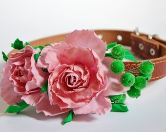 Flower dog collar,Wedding dog collar, Pink  Wedding Accessory, Floral Collar, Wedding idea, Pink rose