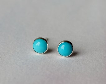 Turquoise earrings, sterling silver stud earrings, December birthstone, gift ideas for her, Friendship and Love
