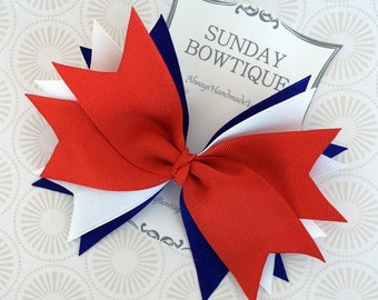 4th of July Hair Bow, Spiked Hair Bow, Large Hair Bow, Red White Blue Bow, Red Hair Bow, Blue Hair Bow, White Hair Bow, Patriotic Bow
