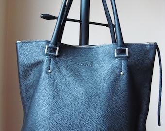 Genuine Leather Bag  Black Color zippered  , Leather Tote Bag, Large, CarryAll, Shoulder Bag, Shopping Bag, Handbag,