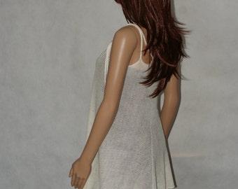 linen dress , handmade asymmetric, linen mini dress/ tunic / top  with adjusted straps