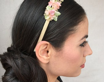 DELICATE FLOWER HEADBAND (Pink and Green)