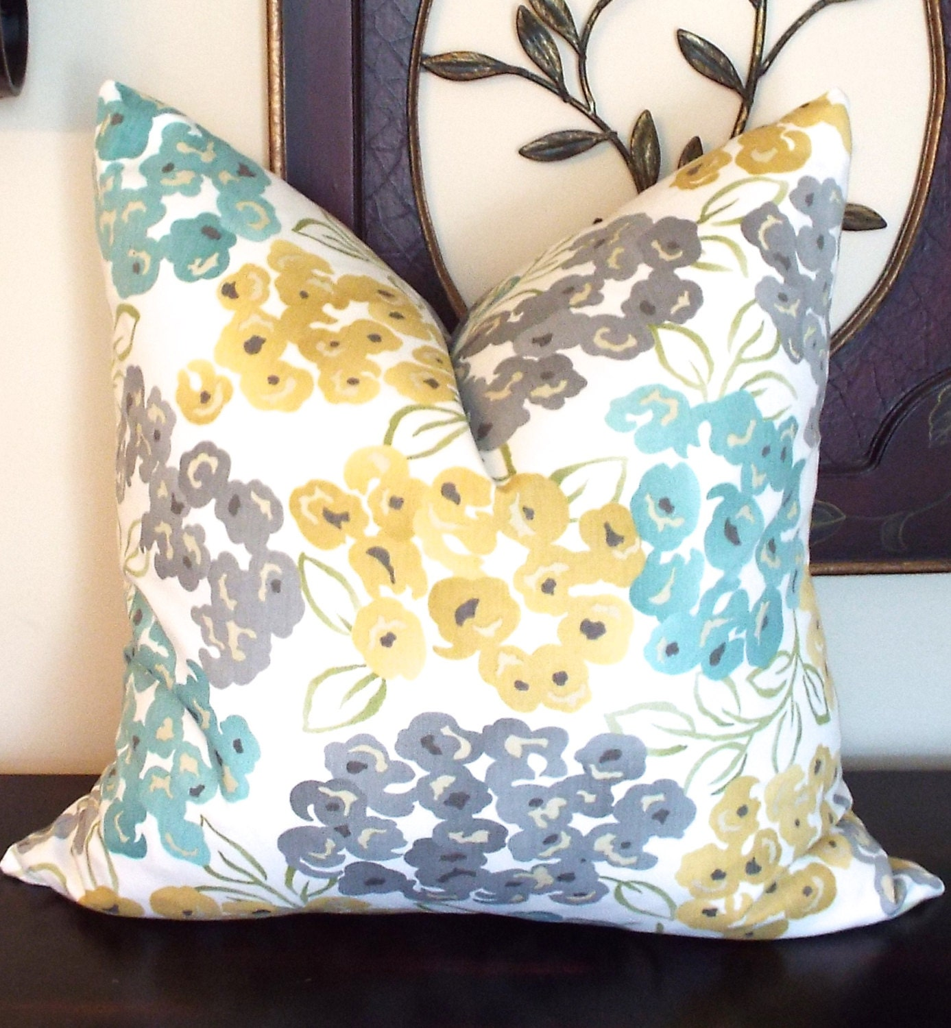 Gold turquoise blue pillow cover decorative gold throw for Blue and gold pillows
