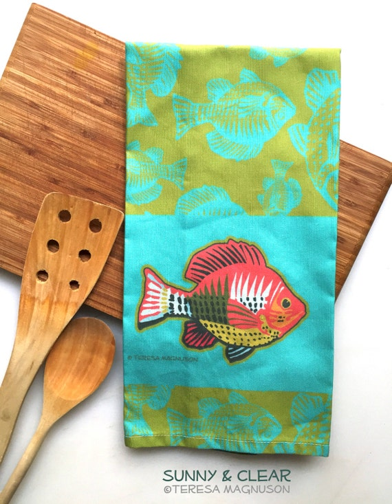 Fish tea towel teal lime linen cotton blend by sunnyandclear for Fish tea bags