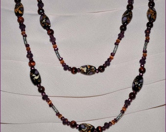 Purple Bead Necklace, Extra Long Necklace, Peacock Beads, Glass Bead Necklace, Lampwork Necklace, Silver Flower Clasp, Amethyst Beads
