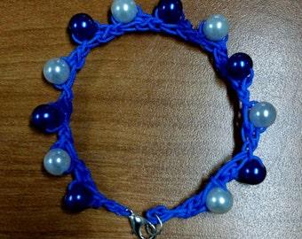Crocheted Dark Blue & White Bracelet