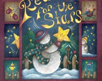 Snowman Painting, Snowman with Star, Reach for the Star, Snowman Acrylic Art Print
