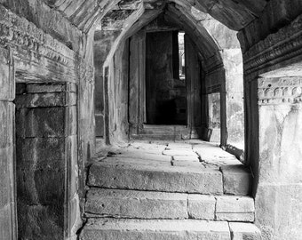Photography, black and white, Asia, architecture, ancient architecture, temple, wall art, travel Photography, historic buildings.