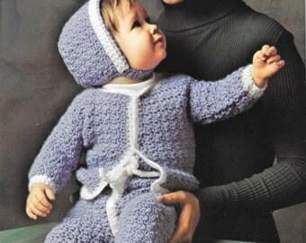 Crocheted Baby Pattern, Vintage Jumpsuit Pattern, Crochet 70s Baby Set Pattern, Instant Download, PDF, Crochet Baby Pattern, Infant Pattern