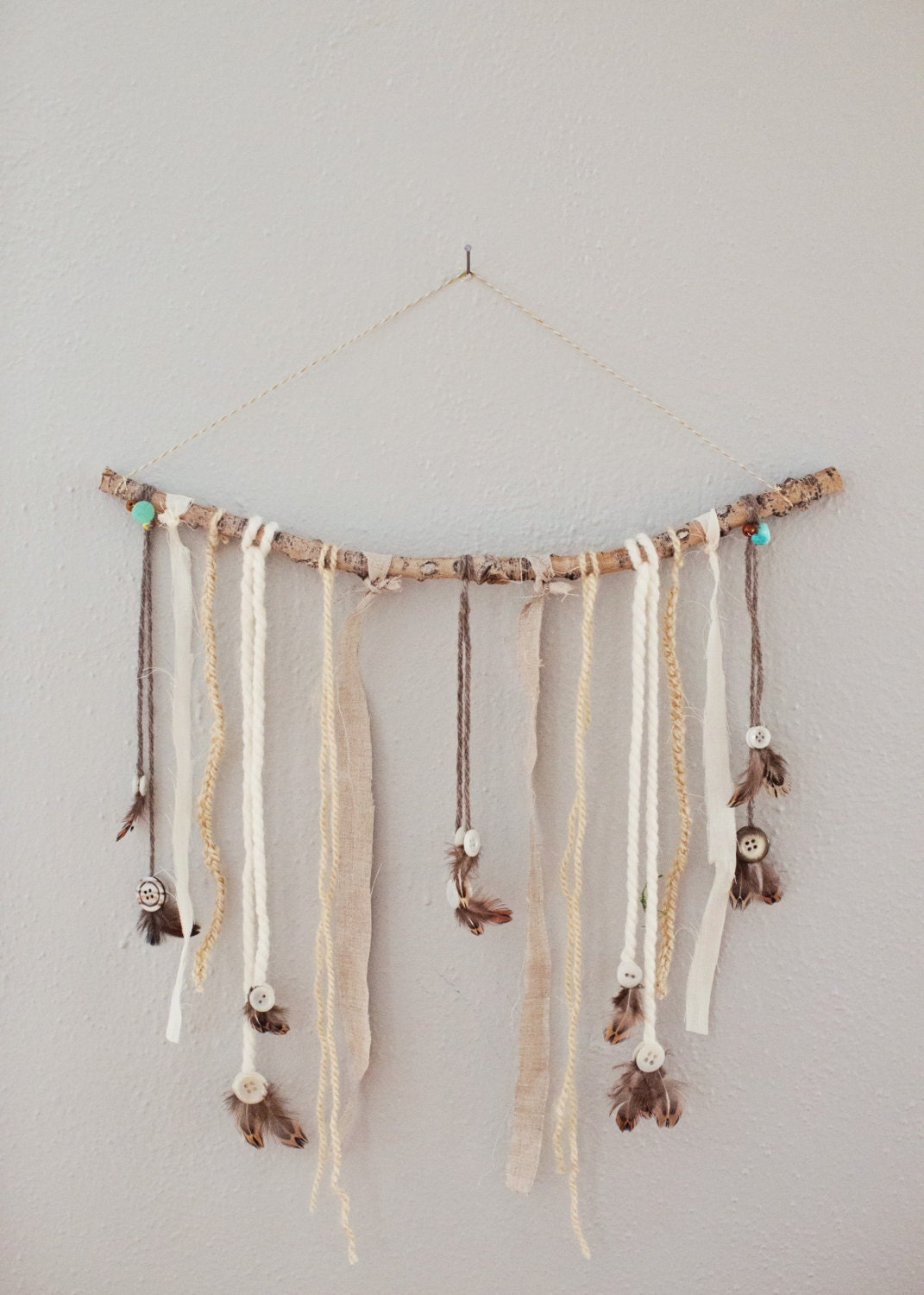 natural stick wall hanging boho wall hanging bohemian decor. Black Bedroom Furniture Sets. Home Design Ideas