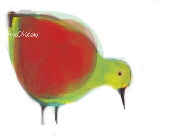 Oiseau rouge, vert pomme, dessin numérique original, impression de qualité, type giclée. Cadre non-inclus.