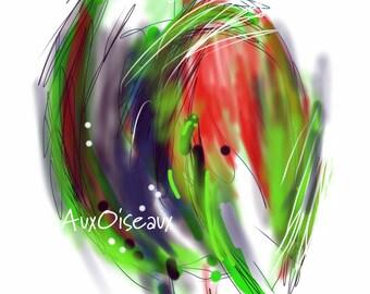 Oiseau rouge, mauve, vert, marqueur, crayon, dessin numérique original, impression de qualité, type giclée. Cadre non-inclus.