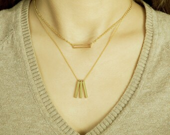 Triple Bar Necklace / Three Bars Necklace / Minimalist Jewelry / Dainty Gold Jewelry / Layered Jewellery / N101