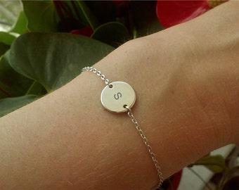 Initial Circle Bracelet / Silver Initial Bracelet / Initial Jewelry / Minimalistic Jewelry / Silver Disk Bracelet / 12mm / B422a