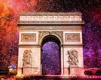 Arc de triomphe, Paris street, Milky way, Canvas print, Canvas photo, Ready to hang, Gallery wrap, Home decor, Paris decor, Wall decor