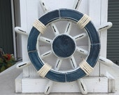 Rustic White and Dark Blue Nautical Ship Wheel - Decorative ship's wheel - Vintage ship wheel, nautical decor, vintage beach decor