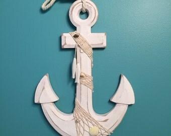 "Anchor Decor, 13"" Wooden Anchor with fishing net and shells nautical wall decor - Nautical decor - 045"