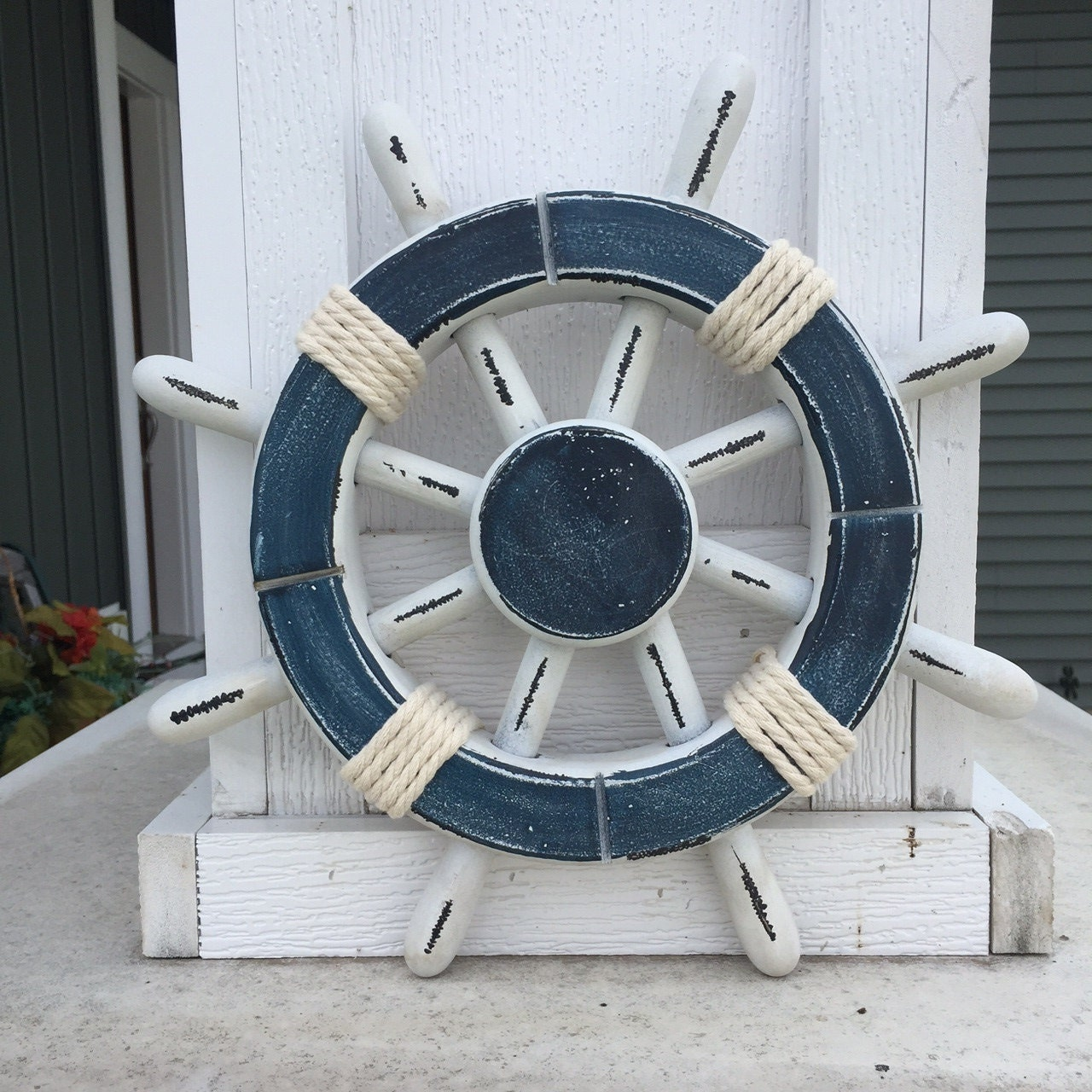 Nautical Wheel Decor: Rustic White And Dark Blue Nautical Ship Wheel Decorative