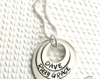 RUBY RINGS, necklace, sterling silver, handstamped