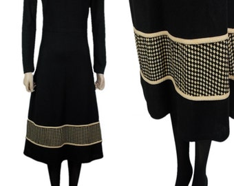 Vintage Strelitz 60s 70s Mid Length Dress with Diamond Checkerboard Border above Hem & Long Sleeves Roll Neck Black - UK 8