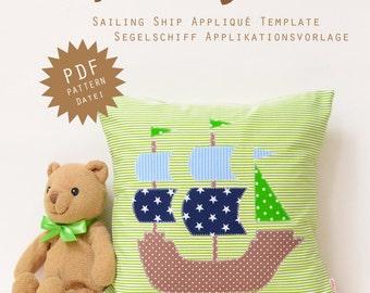 PDF Applique Template - Sailing Ship
