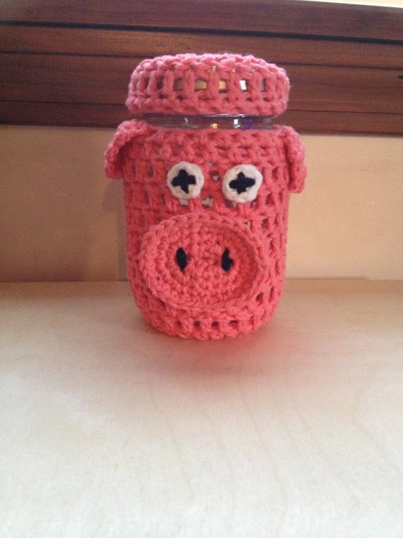 Items similar to pig mason jar cover jar decor piggy for Mason jar piggy bank