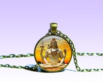 Lord Shiva Gold Pendant Shiva NECKLACE Lord Jewelery Charm Pendant for Him or Her