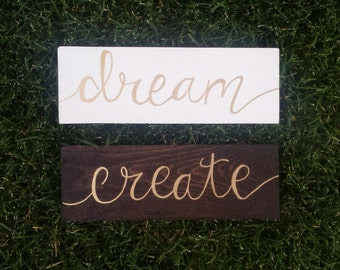 Hand painted wood signs -  Create & Dream