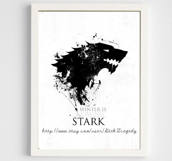 Game of thrones house stark poster digital art print for Decoration murale game of thrones