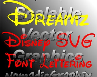 Dreamz Disney Svg Font Alphabet Design - Upper and Lowercase A to Z, 0 to 9, & basic symbols - Cut Files - SVG / DXF / EPS