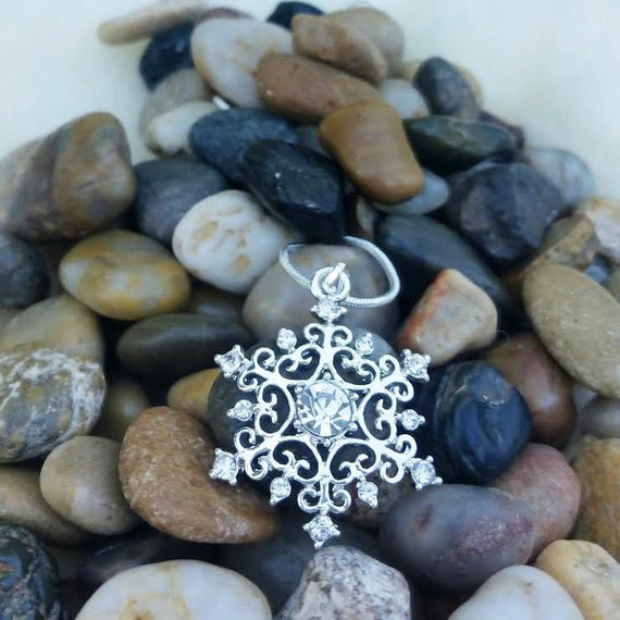 Snowflake Necklace, Icy Frozen Crystal Snow Flake, Once Upon a Time Fairy Tale Necklace, Silver Winter Wedding Jewelry, Winter Birthday Gift
