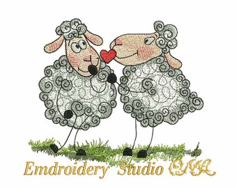 """Machine embroidery design """"Sheeps in love"""" - Valentine's Day - sheep embroidery - sheep - embroidery sheep"""