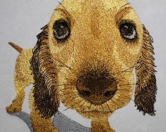 Machine embroidery design dog Little hunter (two sizes) - embroidery dog - dog - machine embroidery dog - puppy
