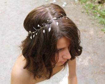 Faye: Bridal Headband | Silver Bridal Headpiece | Wedding Hairband | Leaf Bridal Headband | Bridal Crown | Silver