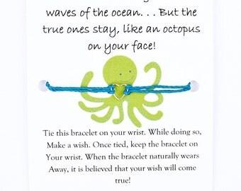 Friendship Wish Bracelet (Cute, Octopus, Friendship Quote, Gift for Friend, Gift, Cute Gift, Funny, Best Friend, Charm Bracelet, Heart)
