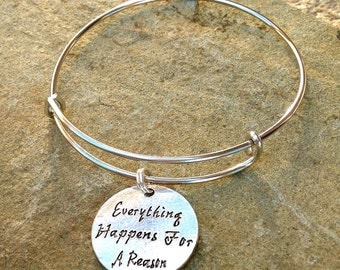 Everything Happens for a Reason Charmed Bracelet - Expandable Silver Bangle Bracelet