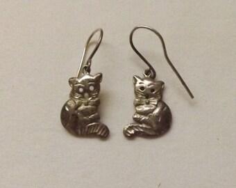 Vintage 925 Sterling Silver Cat Earrings Silver Dangle Earrings
