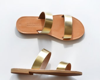 ARCHAIKO ,Leather Sandals women, Two strap women sandals, Leather flat sandals gold color, Handmade Greek Sandals