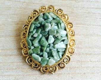 Vintage Gold Tone Crushed Jade Brooch