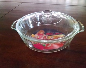 Fire King Clear Glass Covered Casserole with Original Sticker Label, Bake and Serve Glass Casserole Dish With Lid, Vintage Kitchenware