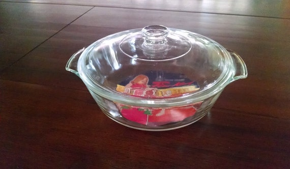 Vintage Fire King Clear Glass Covered Casserole, Bake and Serve Glass Casserole Dish With Lid, Vintage Kitchenware