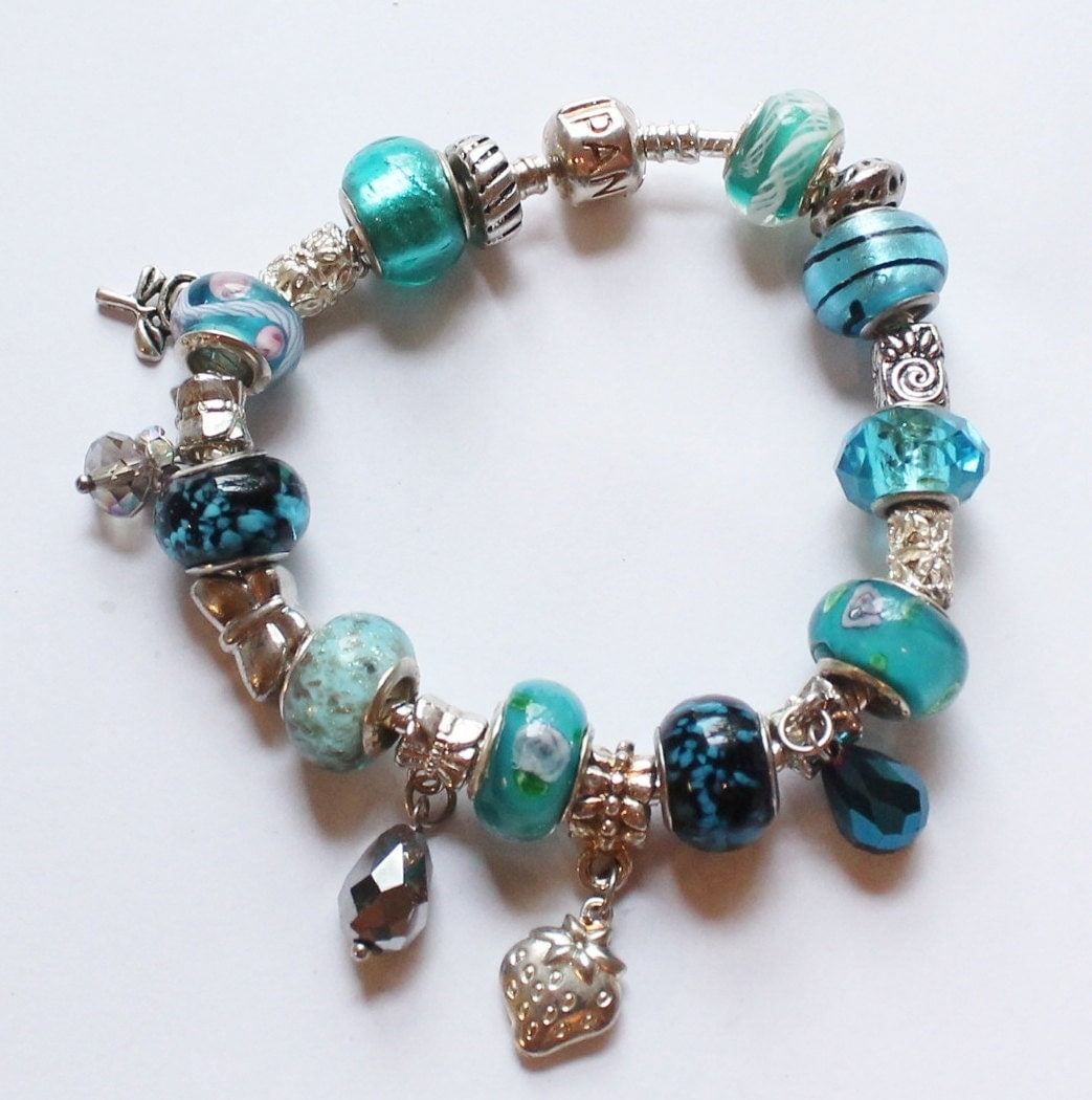 Authentic Pandora Full Charm Bracelet With Aqua Or By